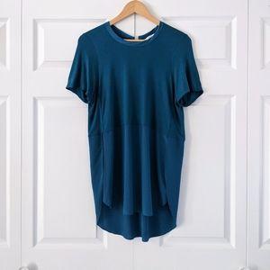Wilfred Capucine Slit Side Teal Blue Silk Top   M